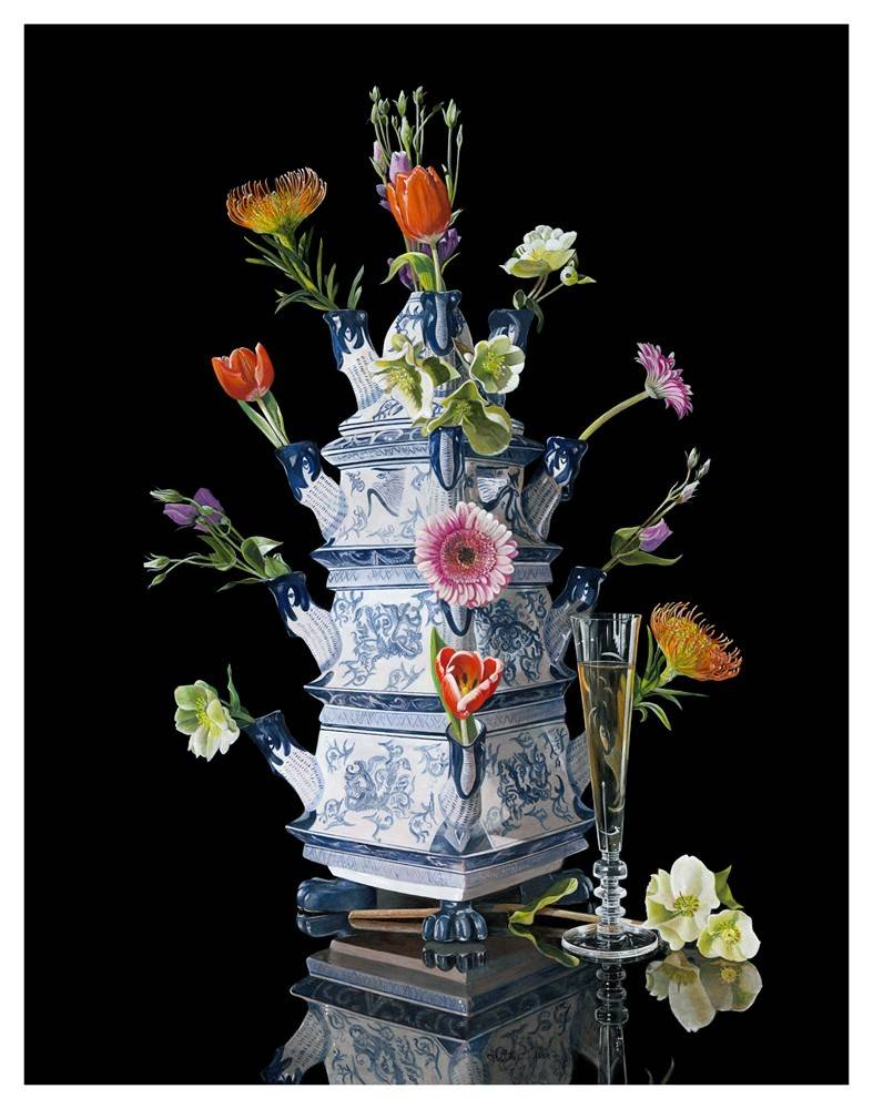 Delft blue with flowers