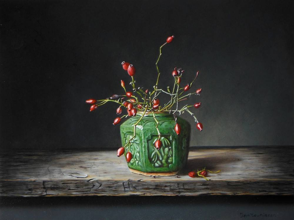 Ginger jar with rose hips